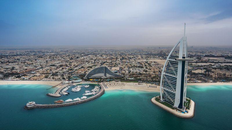 Панорама пляжей Jumeirah Open Beach в ОАЭ
