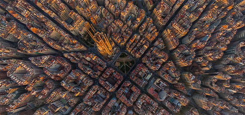 Sagrada Familia in Barcelona, die Ansicht von oben