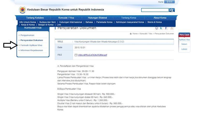 Pilih opsi formulir aplikasi visa di sebelah kiri (isi formulir berisi bahasa Korea dan Inggris).