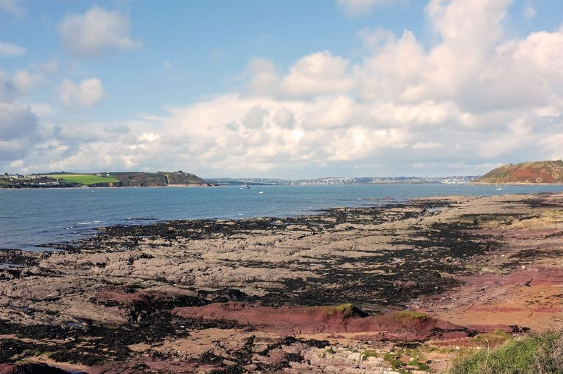 Rocky coastline on Spike Island, looking out to sea