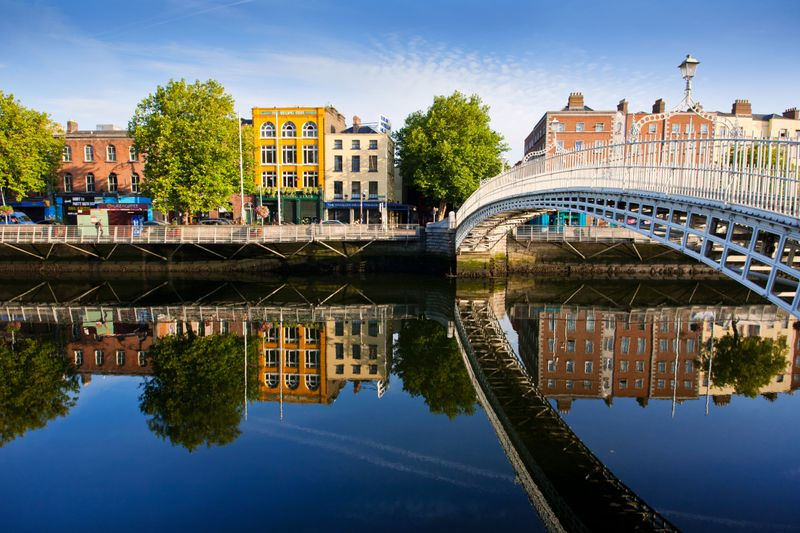 Dublin city, bridges and buildings