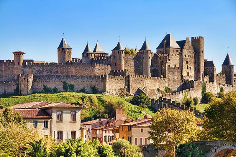 Панорама крепости в Каркассоне, Франция