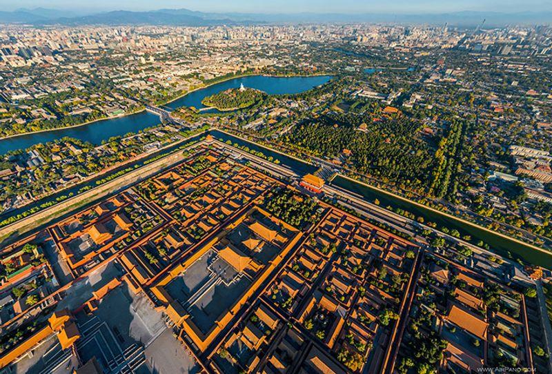 Panorama von der Verbotenen Stadt und der Innenstadt von Peking