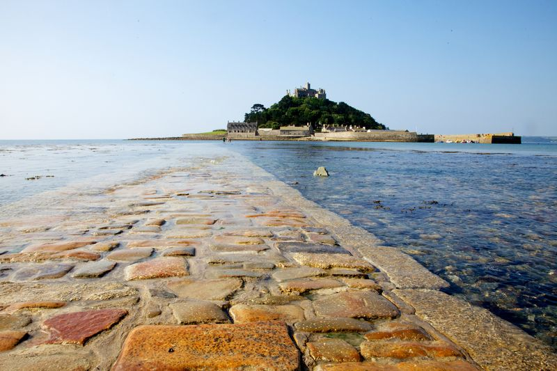 St. Michael's Mount view from causeway, Marazion in Cornwall