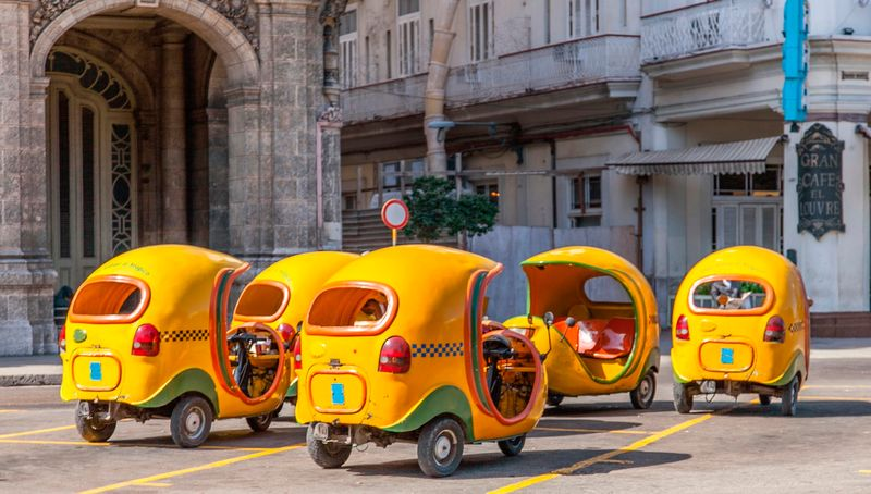 Bubble taxis in Havana, Cuba