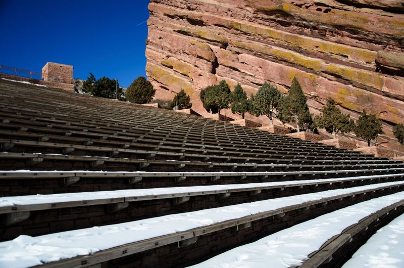 Low angle view and steps of the Red Rock Amphitheatre