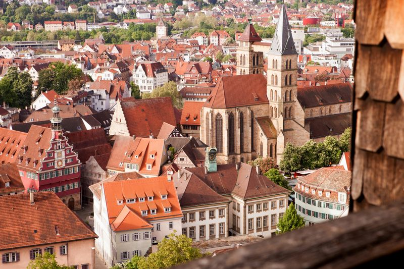 The older and dense city structures of Stuttgart