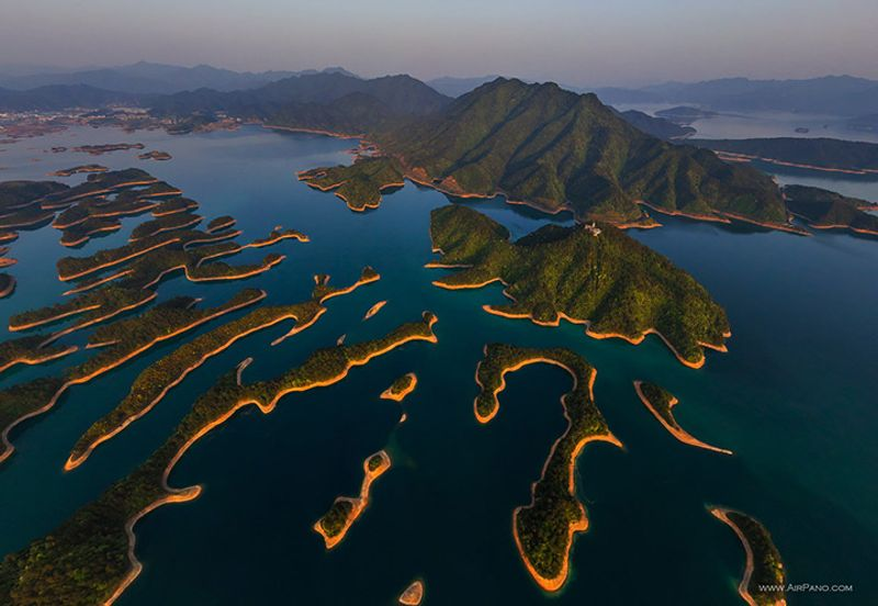 Aerial view of Qiandao Lake, Hangzhou, China, islands dotted in green blue water