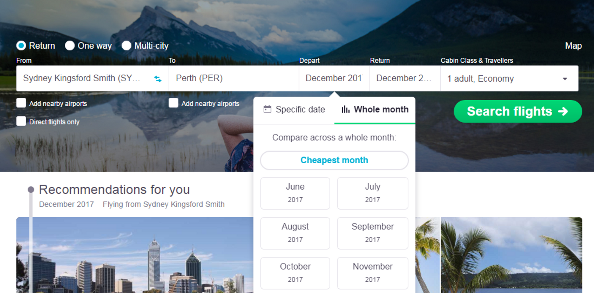 Image showing the Whole Month Search option