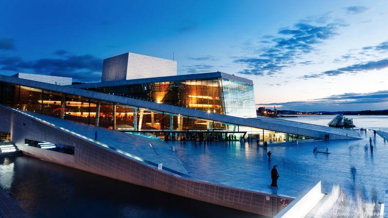 Оперный театр Осло на закате