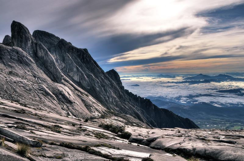 Mountain peak with climbers