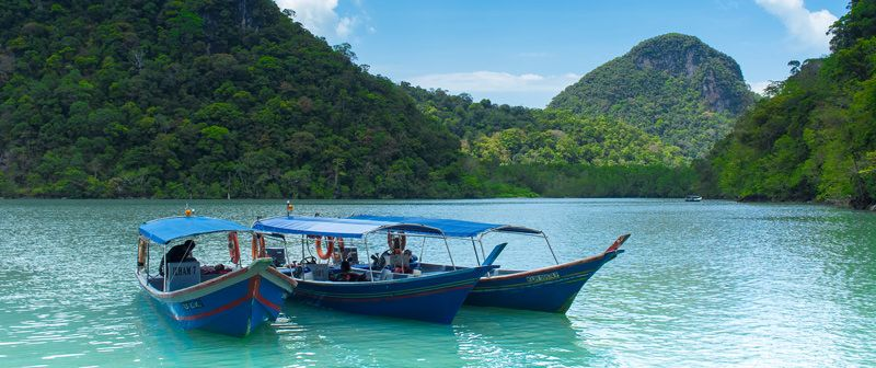 Boats on turquoise water in Langkawi