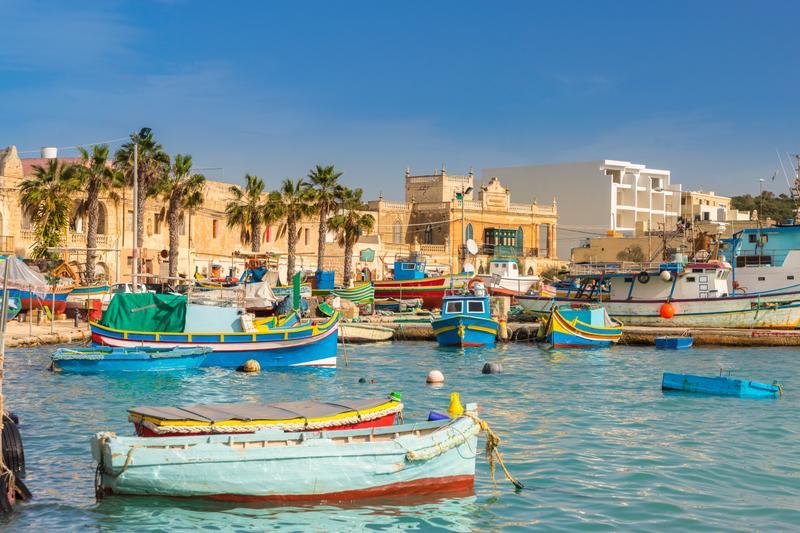 Typical colorful boats in Valletta, Malta