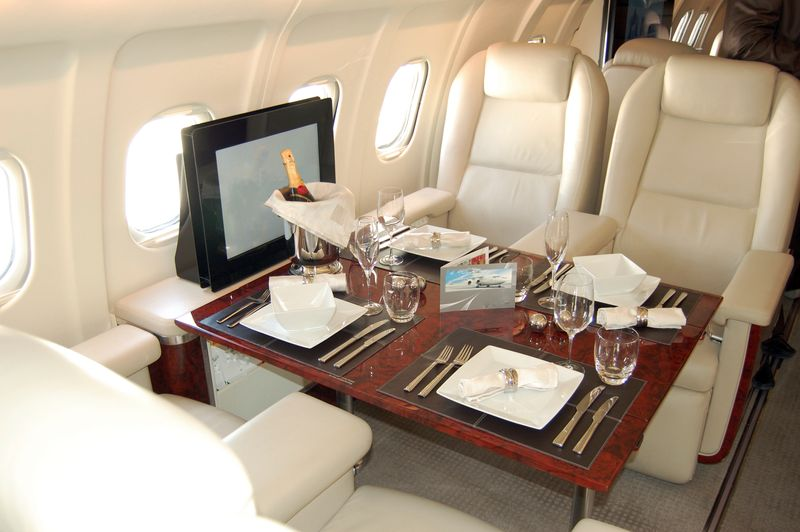 Luxury first class seats on a plane
