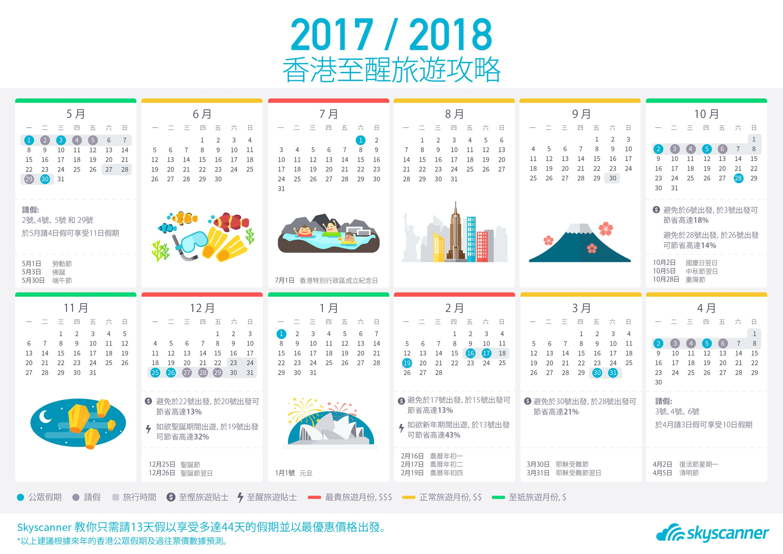 2017-2018年历揭示公众假期外游悭钱及请假秘诀图片