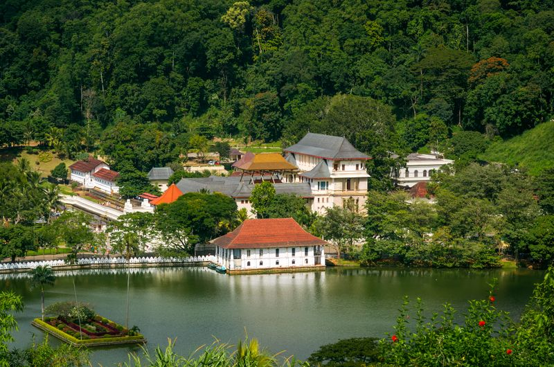 View of Kandy, Sri Lanka with temples