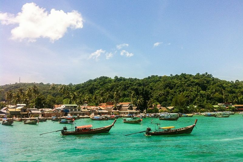 Long boats by the shore in Koh Tao, Thailand.
