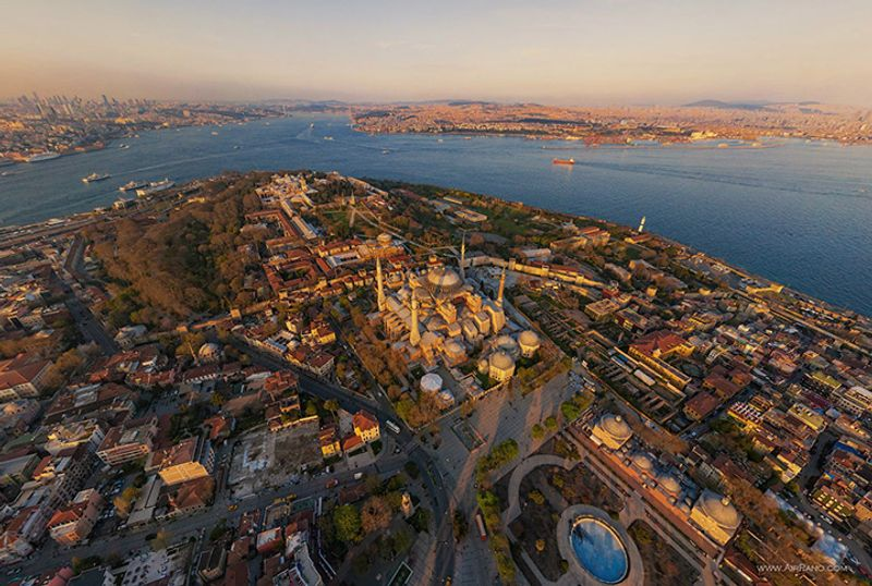 Istanbul from above, view of the Hagia Sophia Museum