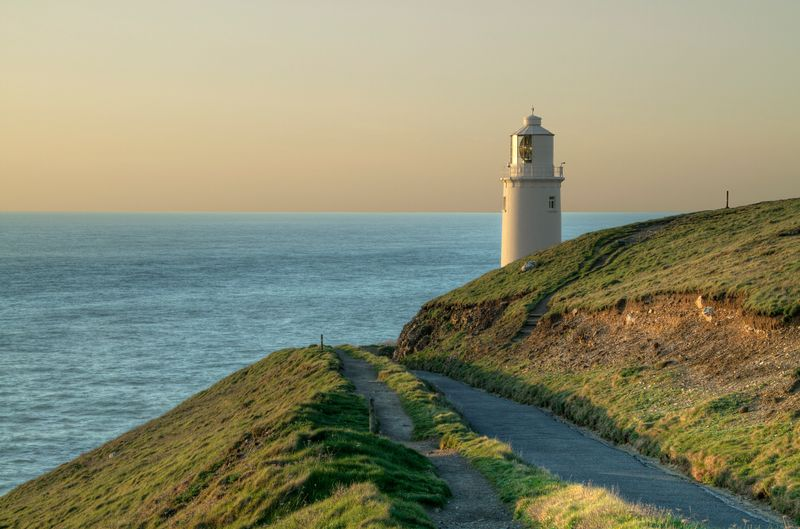 Trevose Lighthouse at sunset, Cornwall