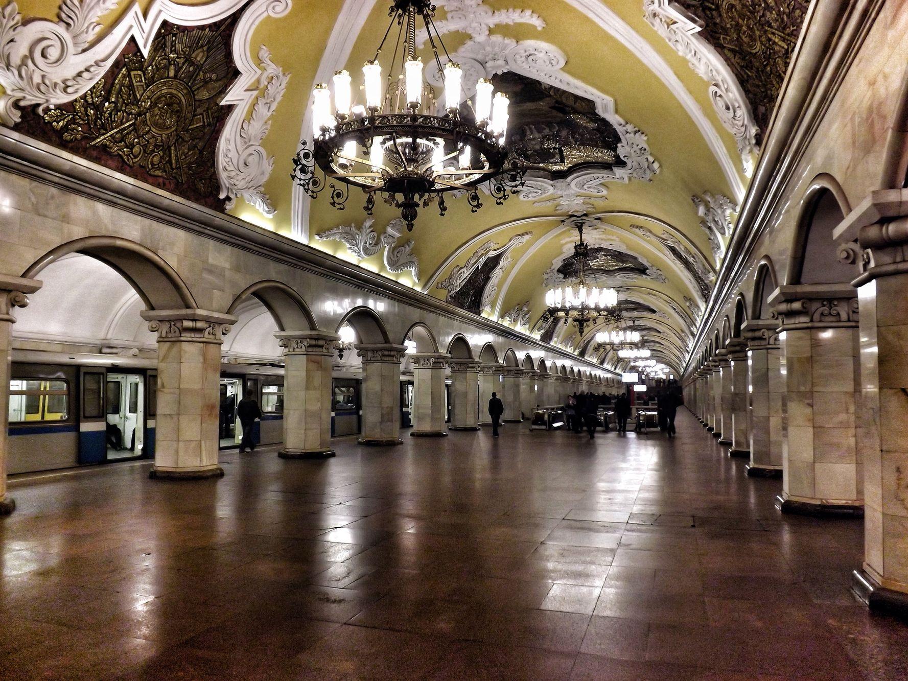 Dünyanın en büyük metro sistemlerinden biri olan Moskova metrosu.
