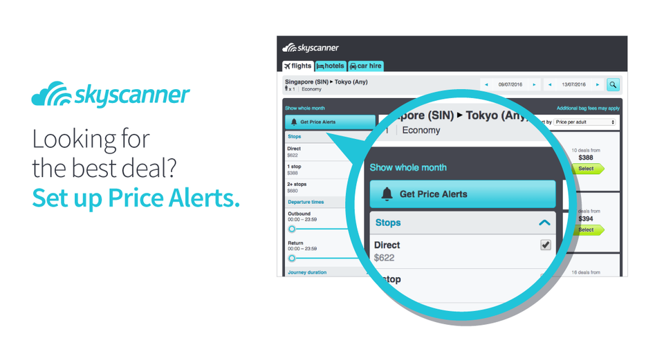 Get the best flight deals with Skyscanner Price Alerts