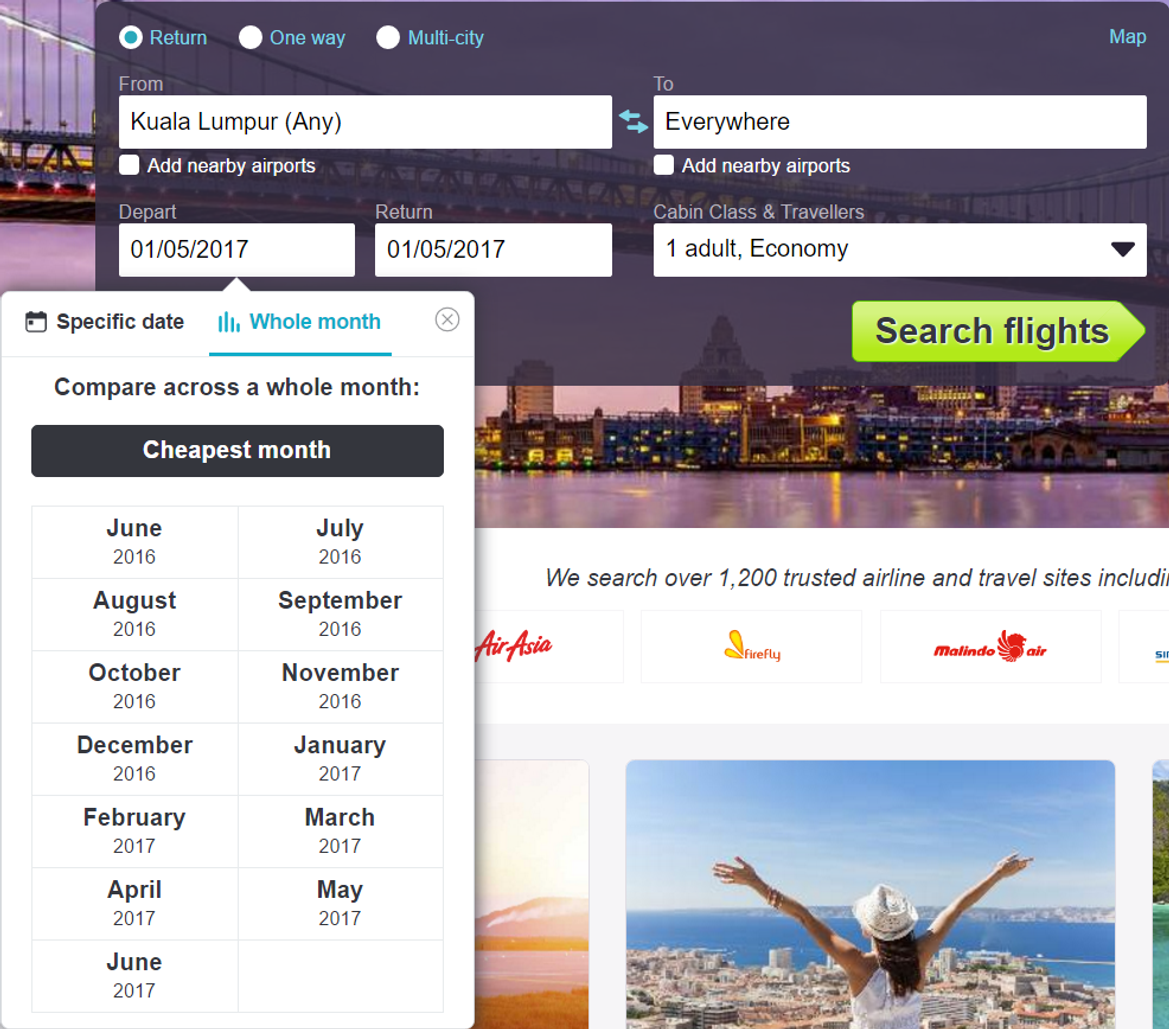 Date search box on Skyscanner