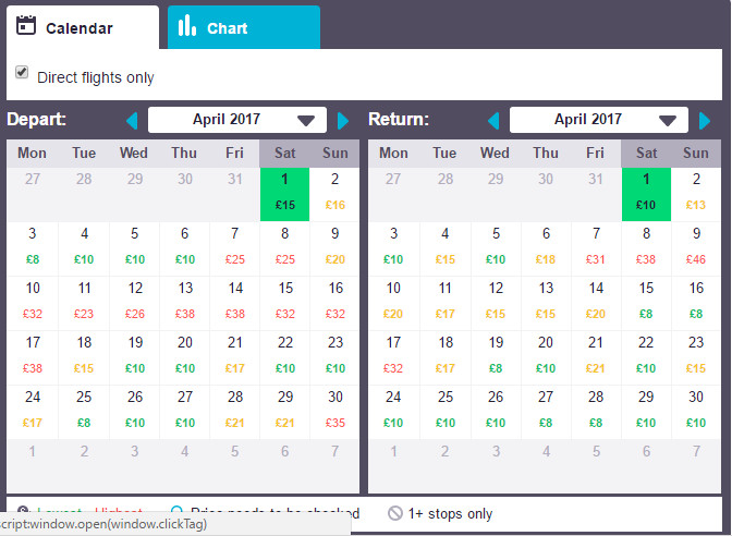 List of flight prices in calendar view