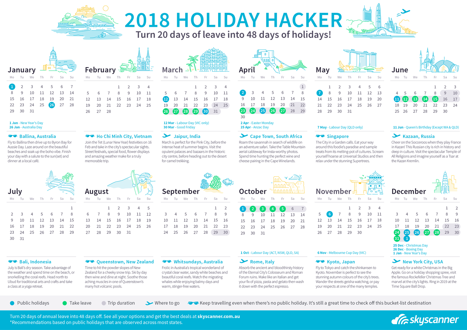 2018 Holiday Hacker - turn 20 days of leave into 48 days of