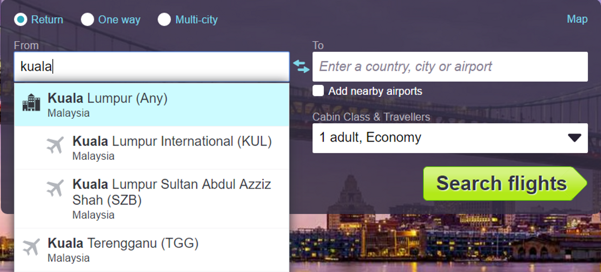 Search box on Skyscanner Malaysia home page