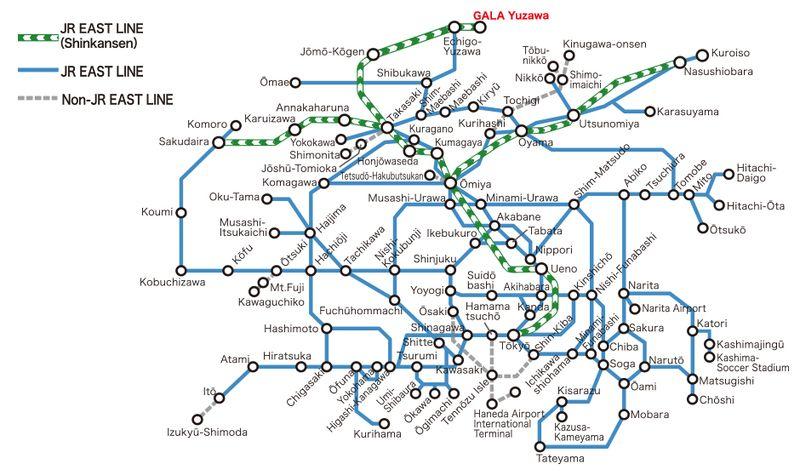 แผนที่รถไฟ JR โตเกียว