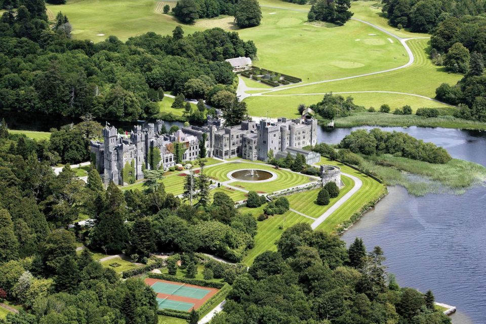 Aerial view of Ashford Castle -Luxurious Castle Hotels in Ireland