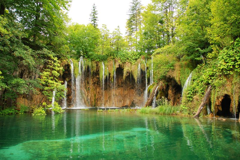 waterfalls and trees with clear water croatia
