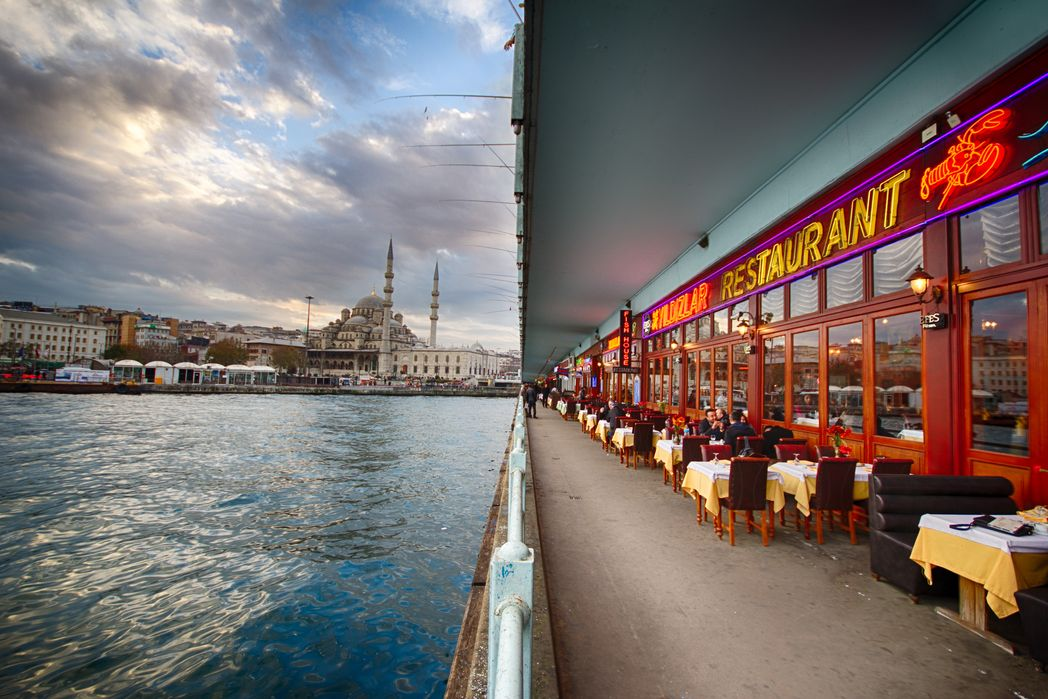 Restaurant in Galata Bridge, Istanbul - one of the best places to visit on your holiday to Turkey