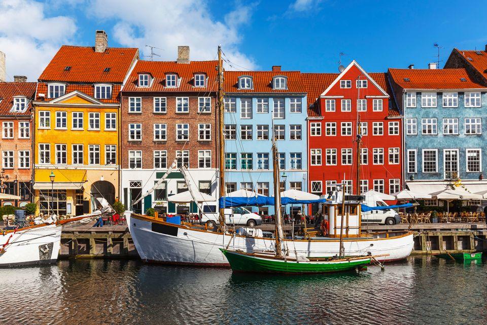Colourful houses along the waterfront in Copenhagen, Denmark