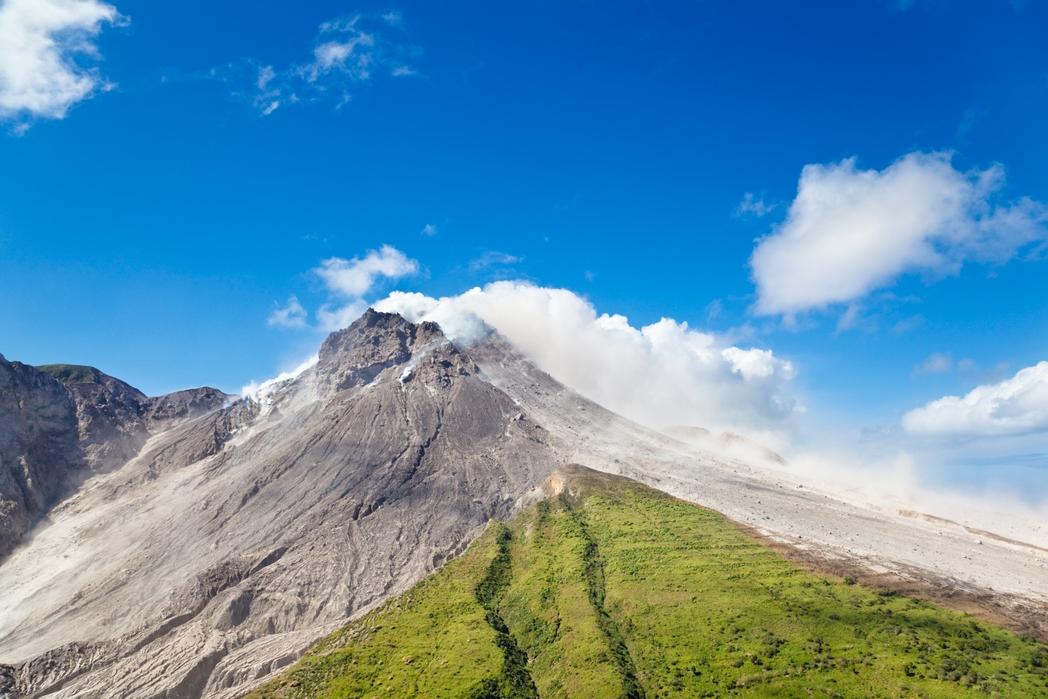 The active Soufriere Hills Volcano in Montserrat
