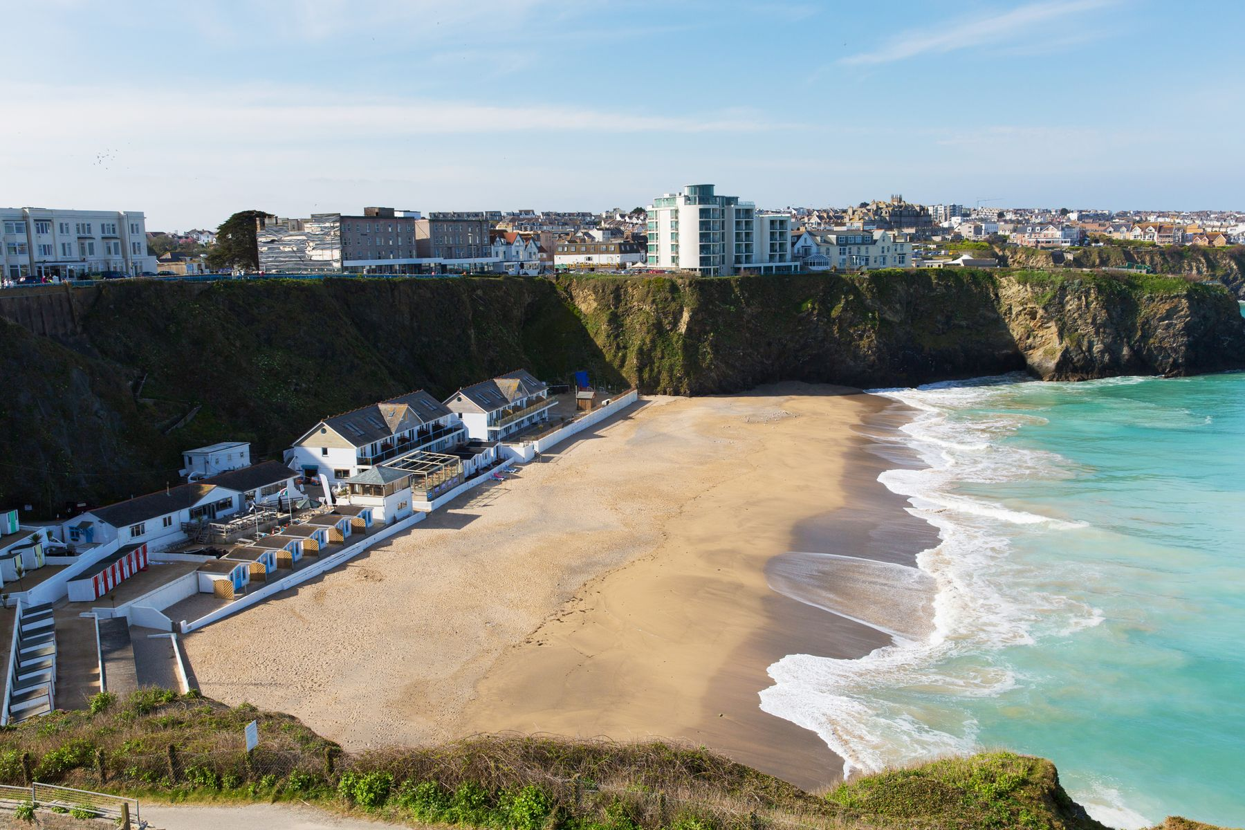 Tolcarne beach in Newquay. one of the best places to visit in Cornwall for sea and surf