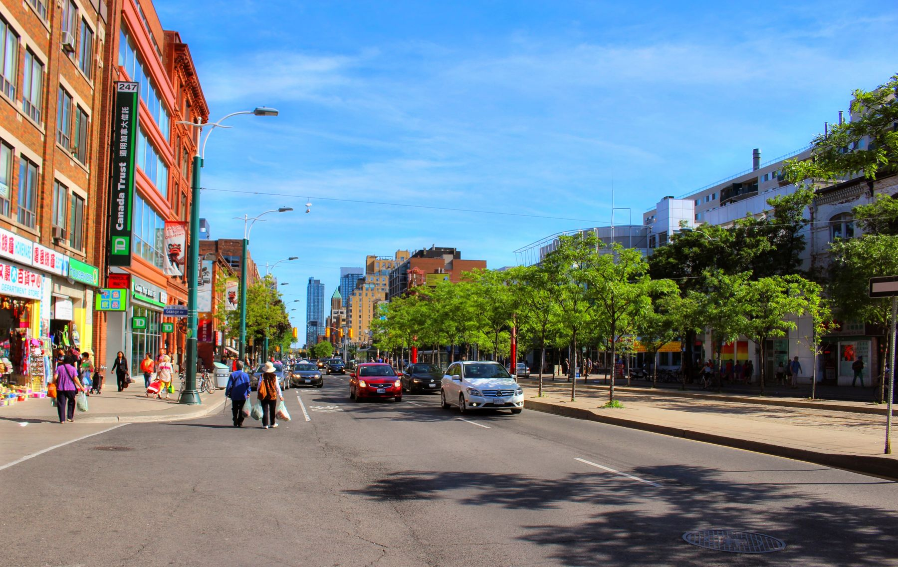 street view during the day in Chinatown, Toronto