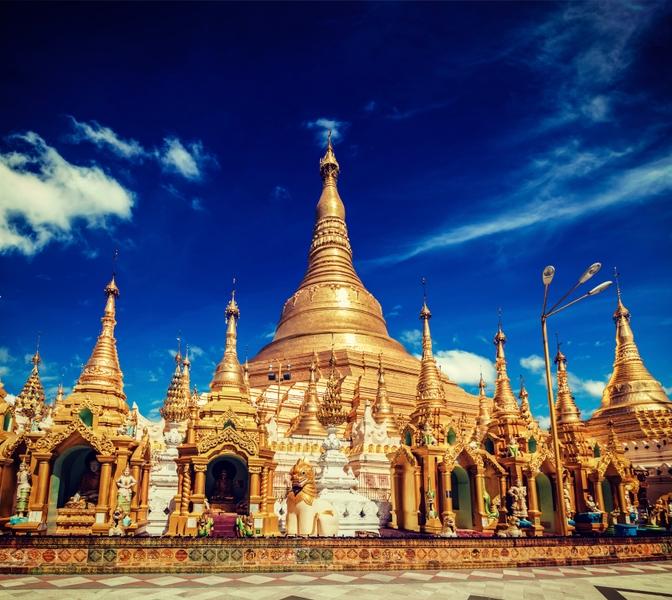 Urlaub in Myanmar: Ausblick von der Spitze der Schwedagon Pagode