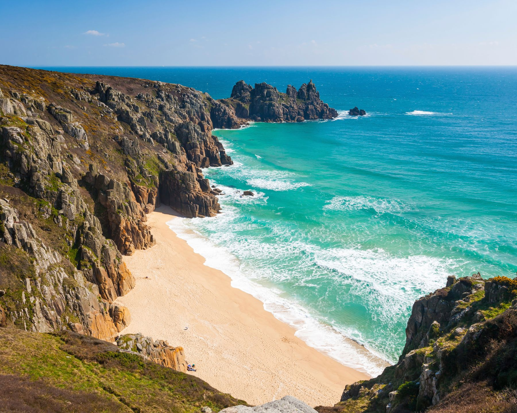 Pedn Vounder Beach is visible from Logan Rock - one of the best spots to visit in Cornwall