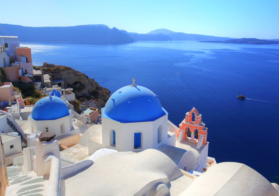 Stunning view from Oia, Santorini - best Greek islands in autumn