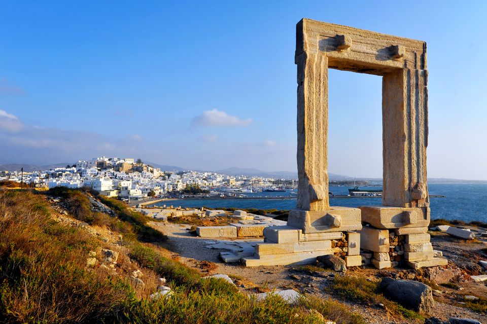 Square columns overlooking town, Naxos
