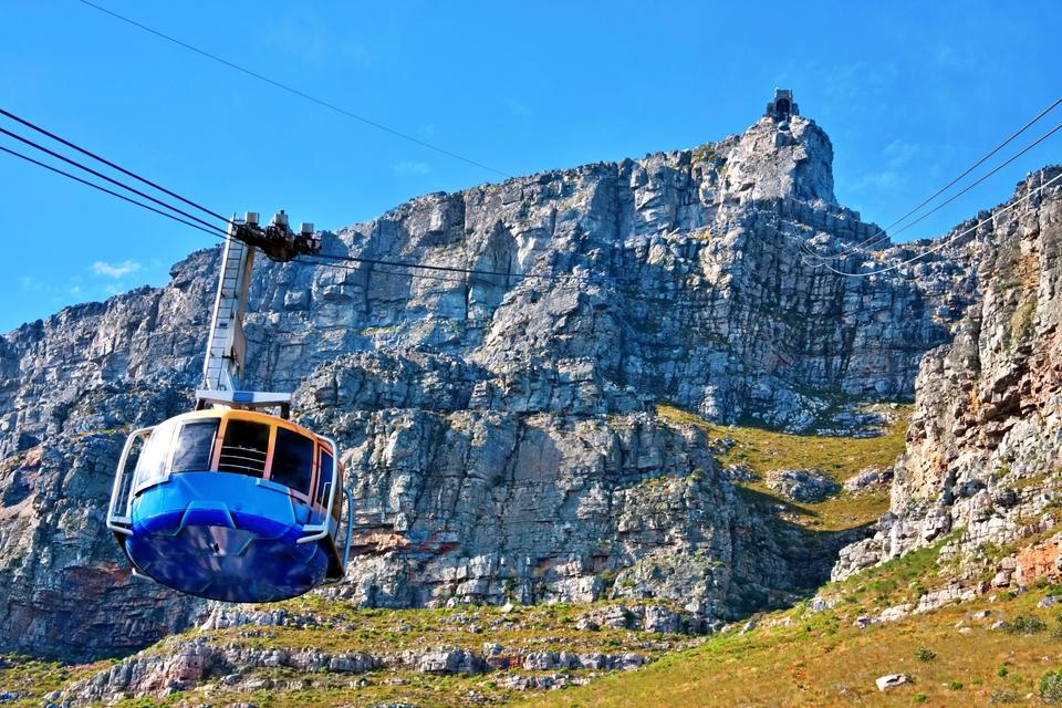 gondola upp till taffelberget i kapstaden, sydafrika