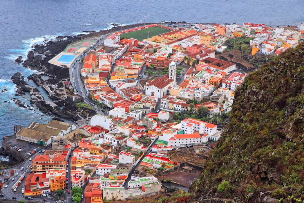 Aerial view of the popular town of Garachico, Tenerife, Spain