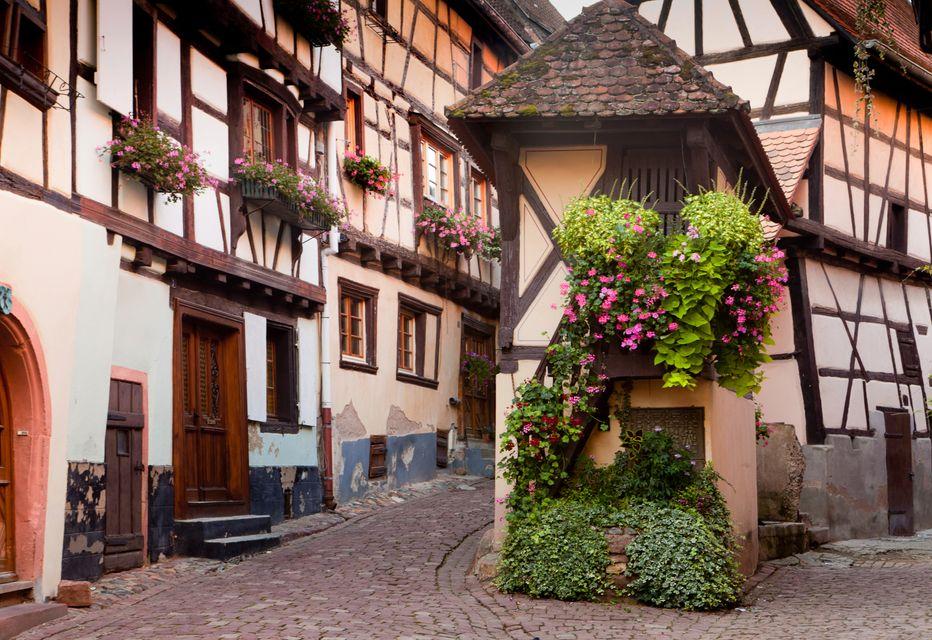 Город Эгисхайм в Эльзасе, Франция