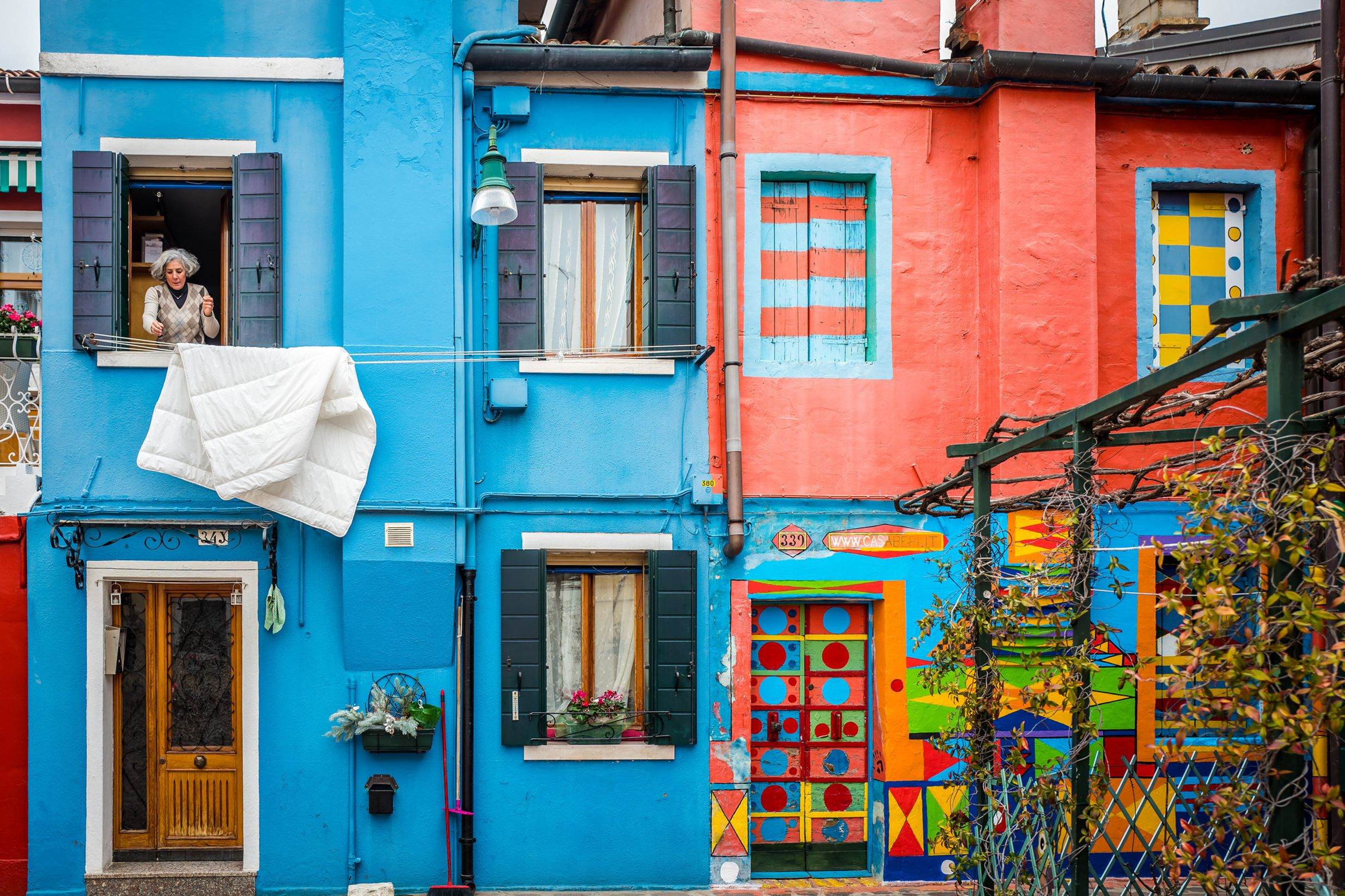 colourful houses in Burano neighbourhood in Venice, Italy.