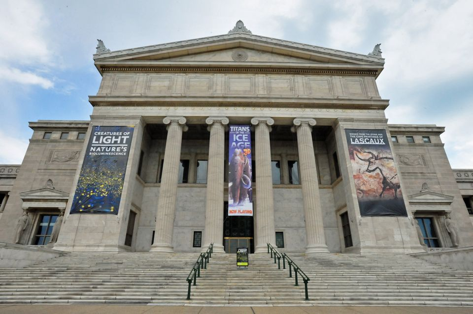 the front entrance to the Field Museum in Chicago