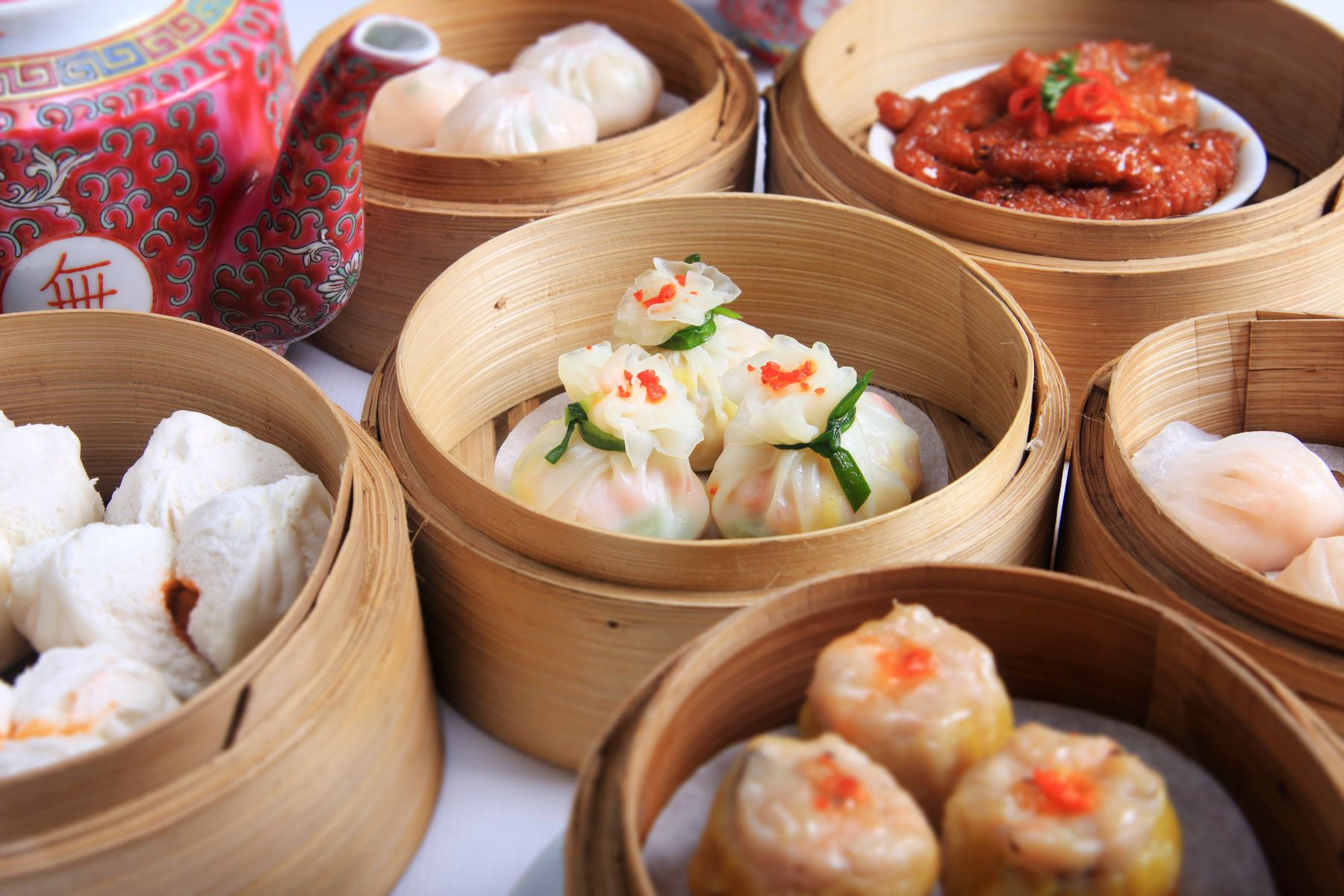 plate of dim sum and tea