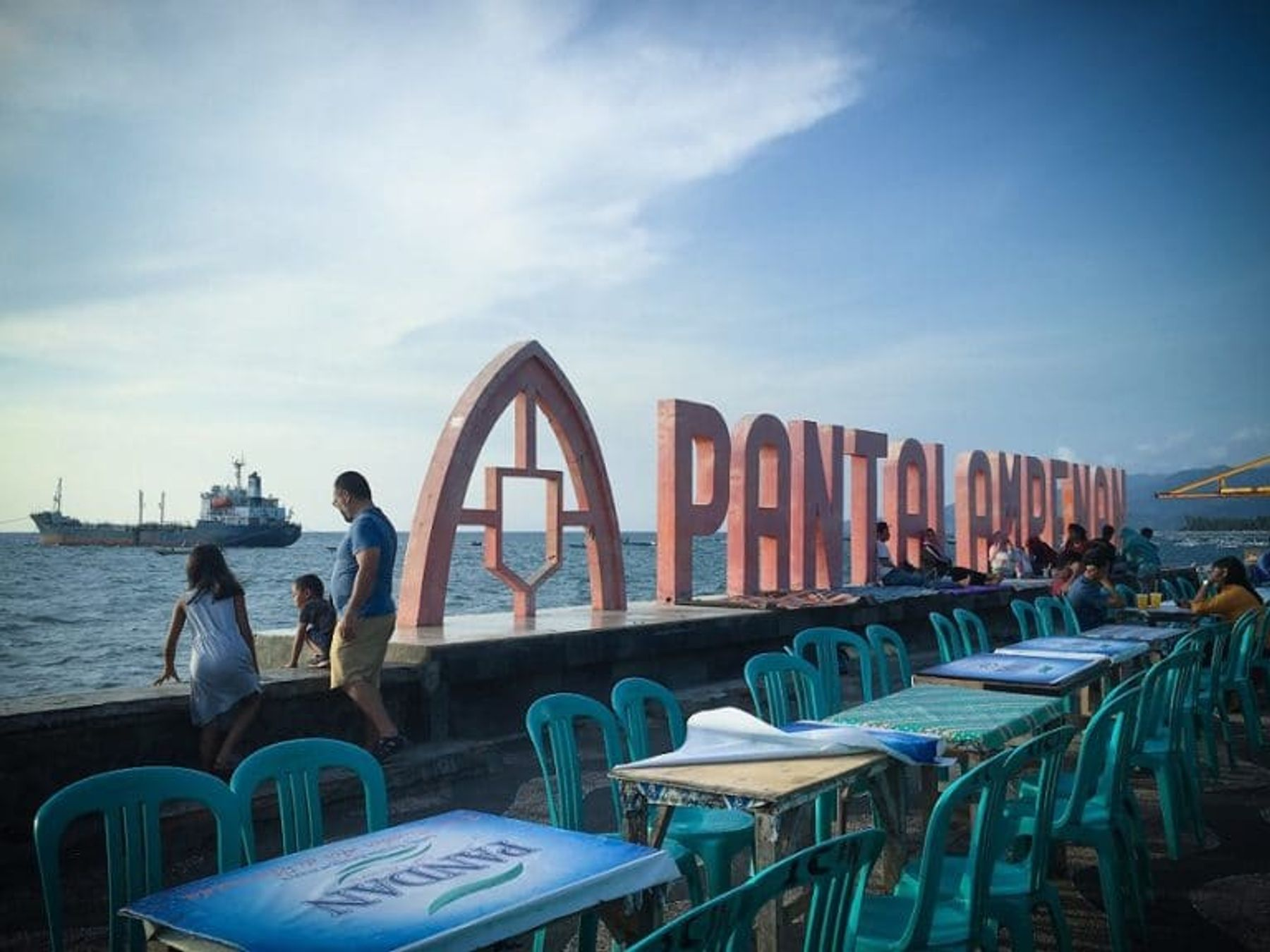 Restaurants along Pantai Ampenan near Mataram, Indonesia (November 2019)
