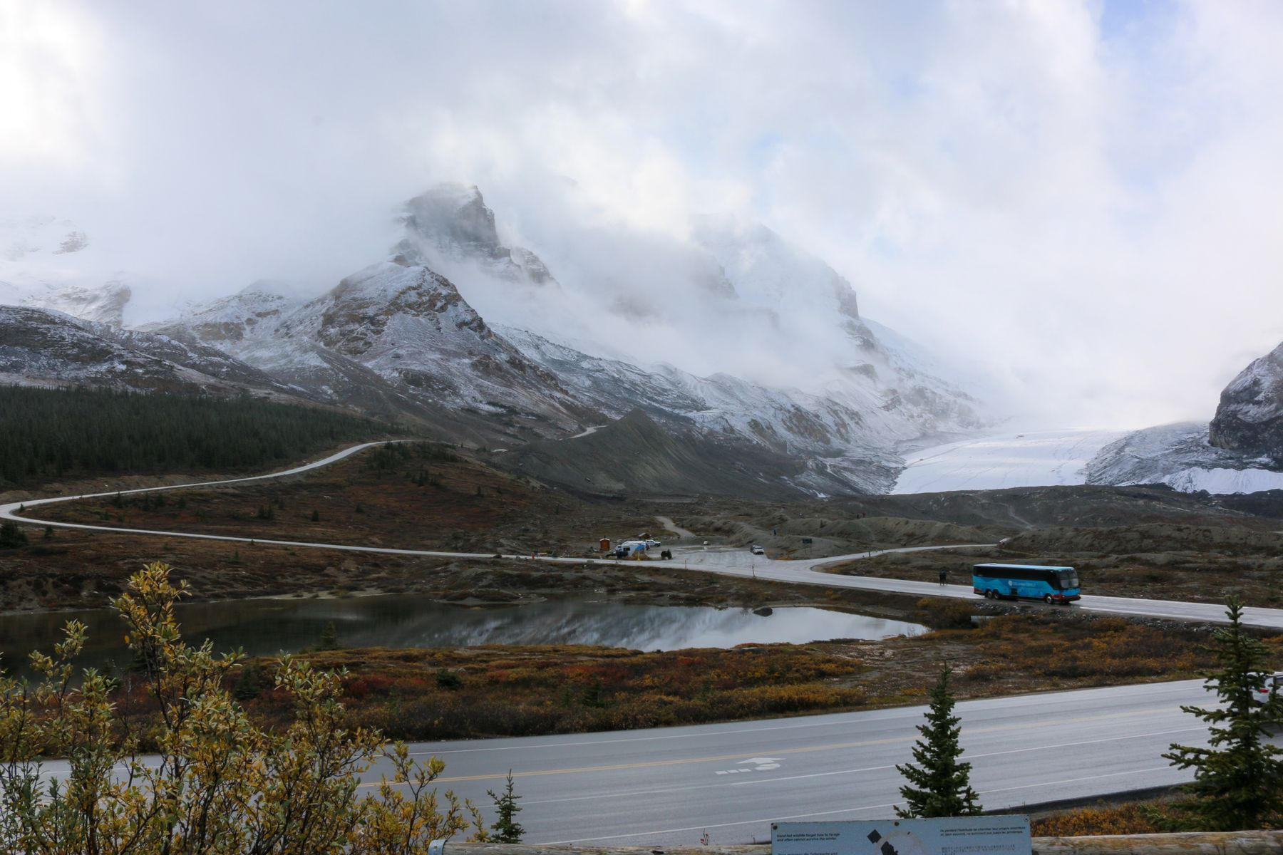 a blue bus driving along the highway with a mountain range in the background on the icefields parkway, a popular road trip in western canada