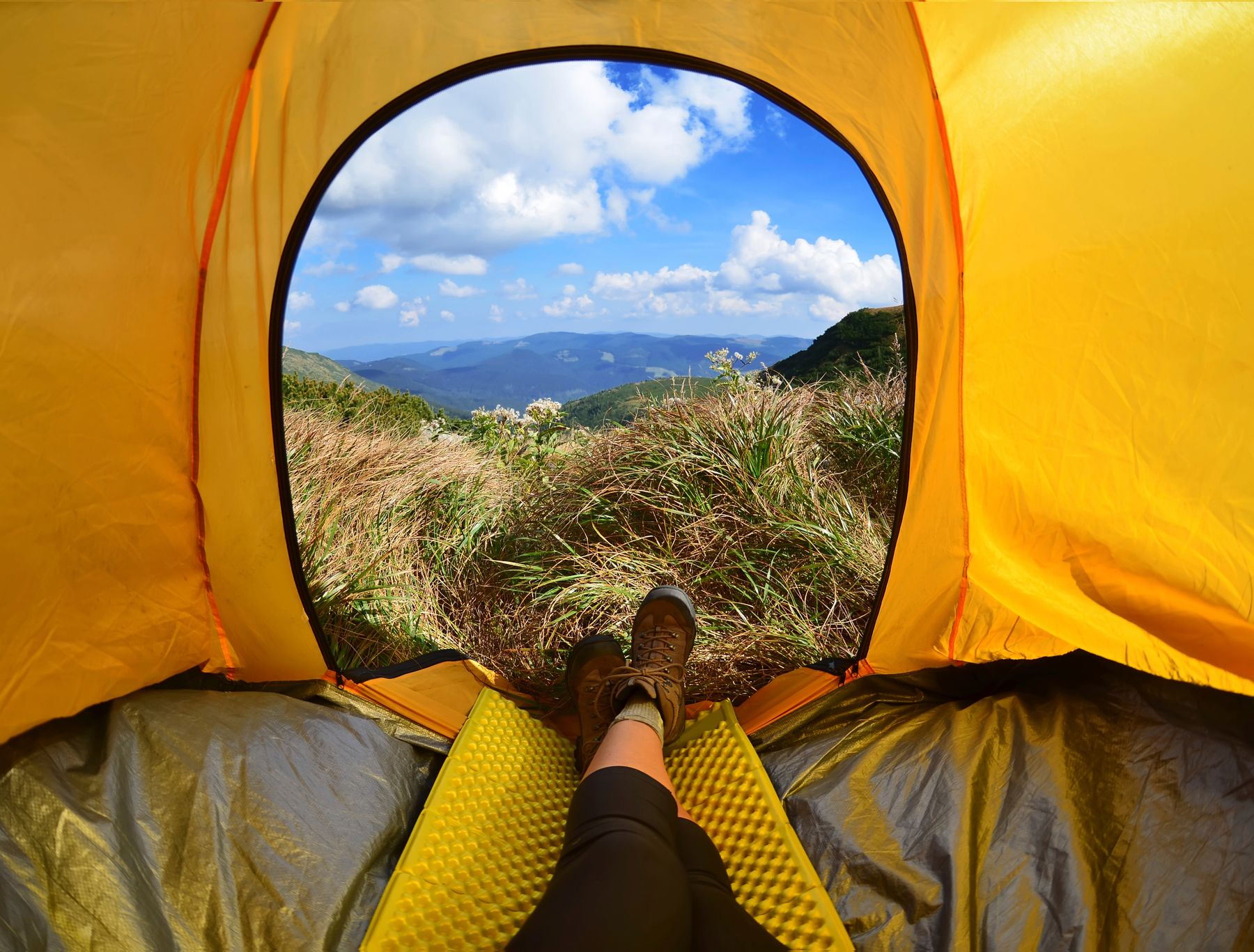 a person camping and looking outside their tent to the mountains for a canadian vacation